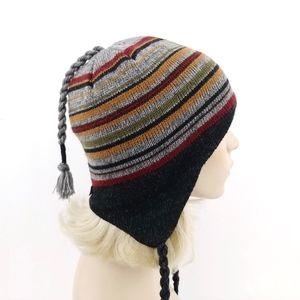 aad30736867a2 REI Peruvian Stripe Fleece Lined Earflap Beanie OS